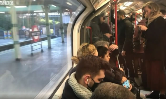 Crowded tube during coronavirus outbreak